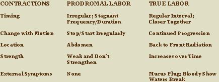 Prodromal Labor Chart